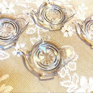 Teapot Teacup Clear Glass Coasters